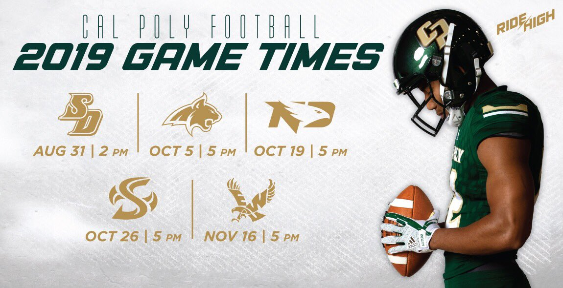 Game times for all 5 home games have been set! Start making plans to come out to Spanos Stadium this fall! #RideHigh Full story: bit.ly/2J7sRPv