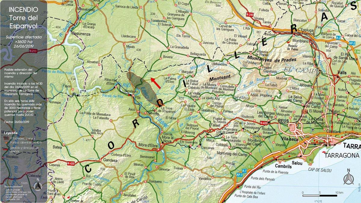 #IFTorreDelEspanyol   NO EXISTE RIESGO PARA LA CENTRAL NUCLEAR DE #ASCÒ  Se encuentra al otro lado del río #Ebro, y el viento sopla en la otra dirección  No supone amenza  Ademas dispone de sus propios equipos de intervención en caso de que sean necesarios  #StopBulos #FakeNews
