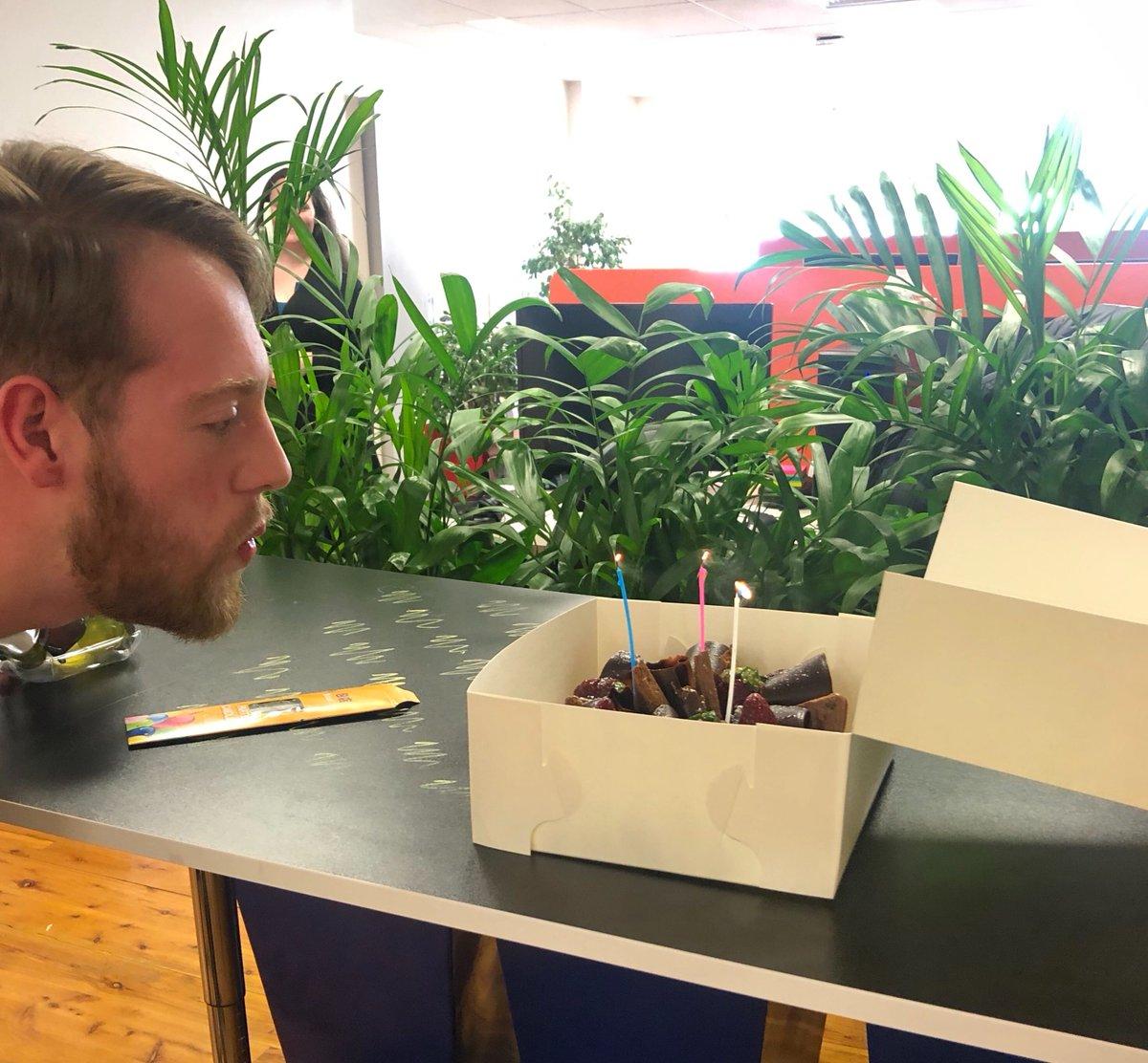 Happy birthday @reilly_francis! Celebrating with a Tim Tam delight from @dobinsonsbakery  #celebration #birthdayboy #happybirthday #fifthdomain #wearefamily #cake #timtam #cyber #startup #training #education #chocolate