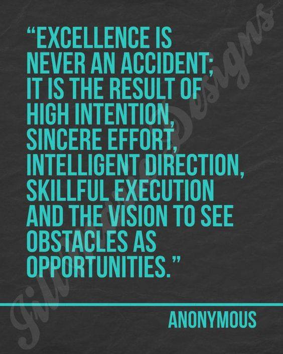 Excellence never was an accident it takes purpose and vision