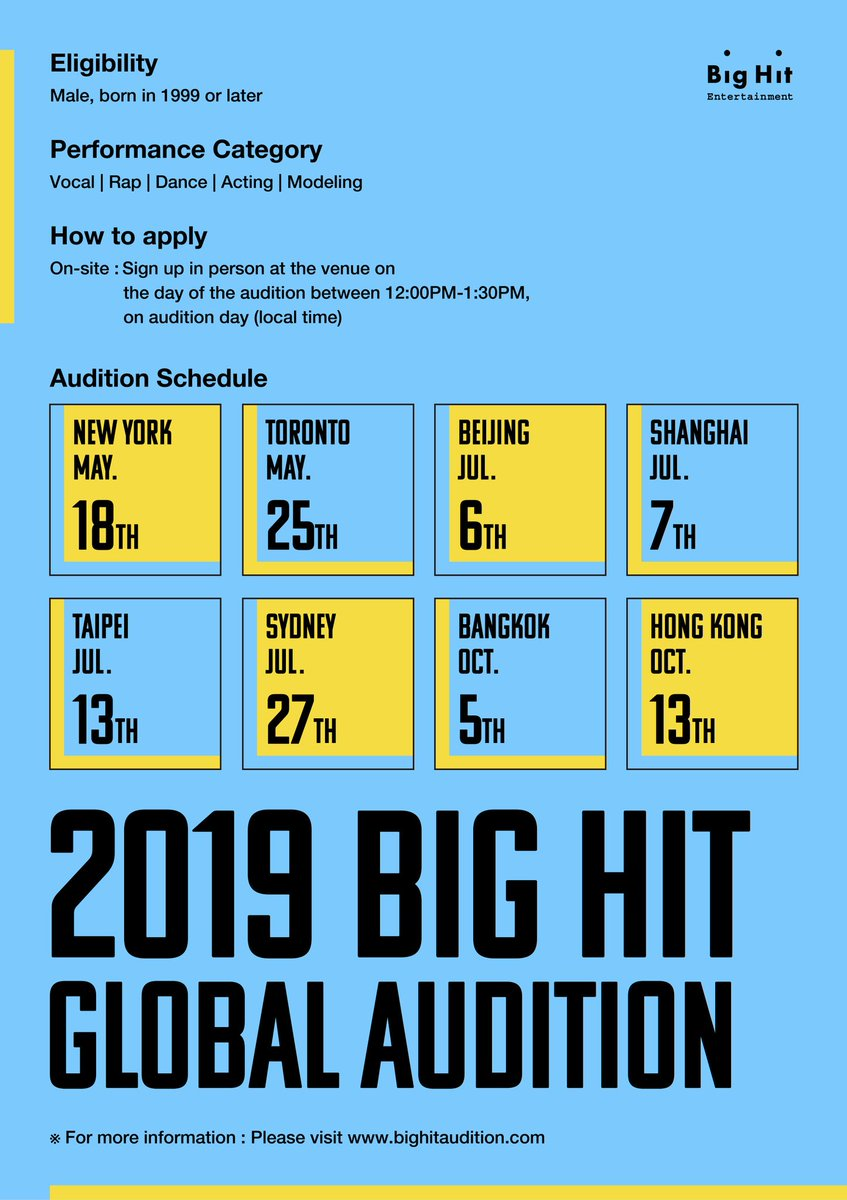 [ 2019 Big Hit Global Audition – Sydney ] ∙ Date : July 27, 2019 ∙ Venue : 82 Brighton Ave, Croydon Park NSW 2133 (The Korean Society Of Sydney) ※ For more information, please visit the Big Hit Audition website. bighitaudition.com