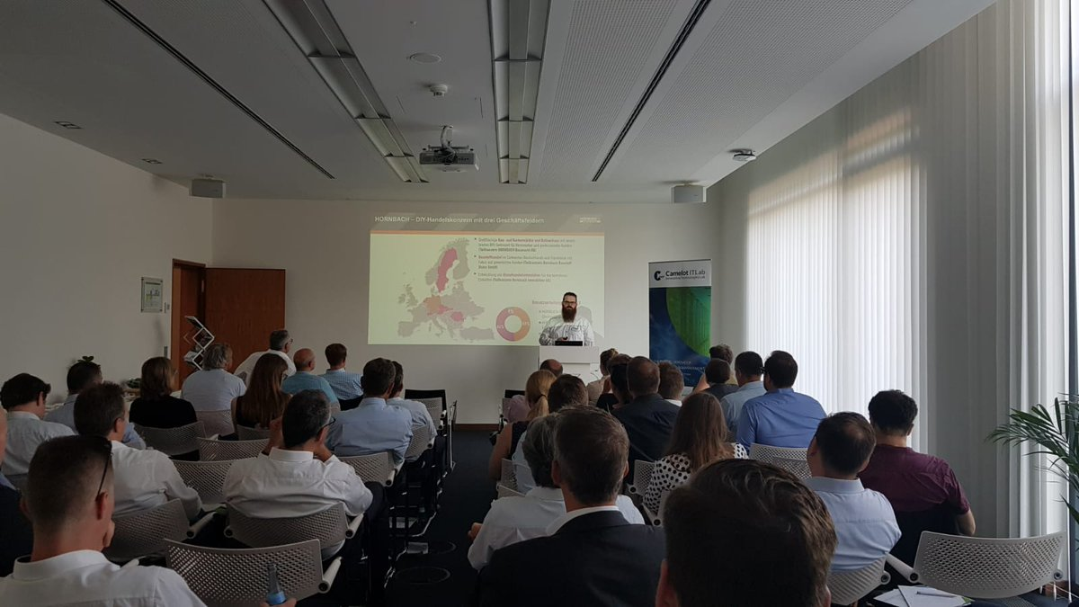 Jochen Pohnert from @Hornbach_tweets shares backgrounds, experiences and analyses of the preliminary project for #TM and #EWM design at the Camelot #Logistics Forum in Walldorf today! bit.ly/2JCpyll #SAP #CamelotITLab
