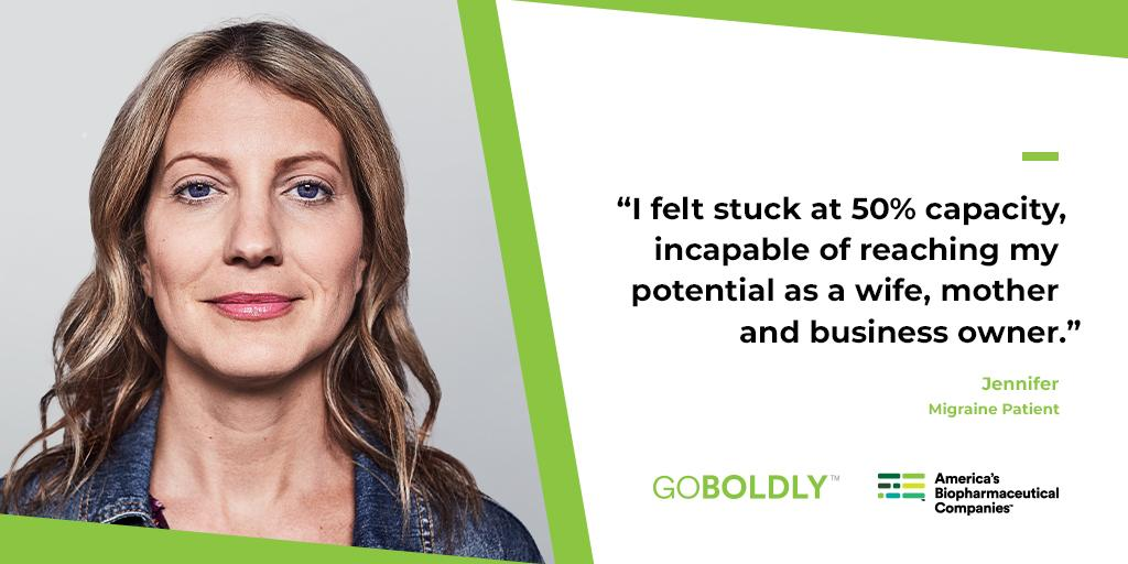 After 25 trials, a new migraine treatment gave Jennifer her life back after years of pain. Now, 27 medicines are in development to give more options and hope for patients like Jennifer. #GoBoldly http://bit.ly/2J8w55u