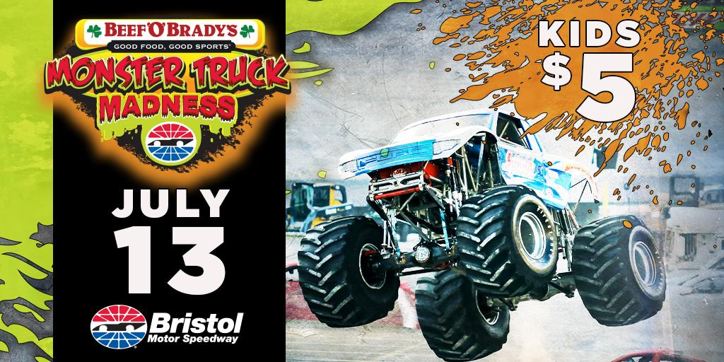 Monster trucks are returning to Bristol for the Beef 'O' Brady's #MonsterTruckMadness on July 13! See big names like @Bigfoot_4x4.  and Quad Chaos battle in racing and freestyle competition! #ItsBristolBaby