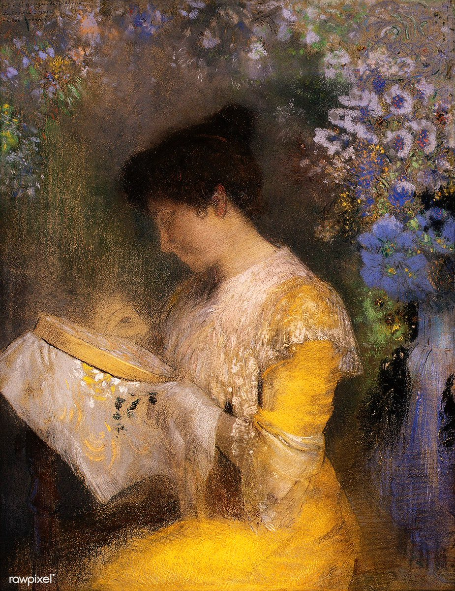 Madame Arthur Fontaine (Marie Escudier, born 1865) (1901) by Odilon Redon. Original from The MET museum. Digitally enhanced by rawpixel. Download this image: http://rawpixel.com/board/599251/odilon-redon…