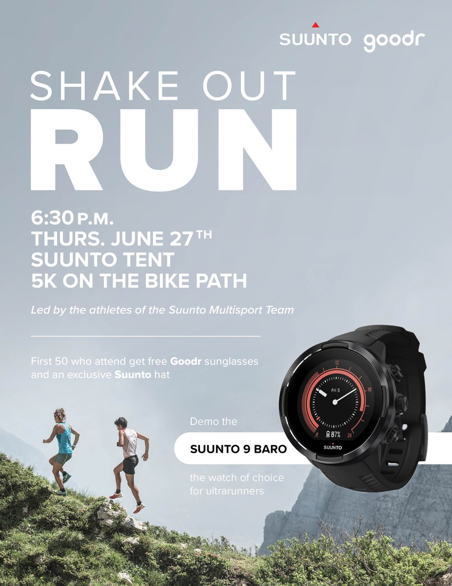 In Squaw Valley today? Join @suunto athletes for a 5K Shake Out run on the bike path at 6:30 p.m.