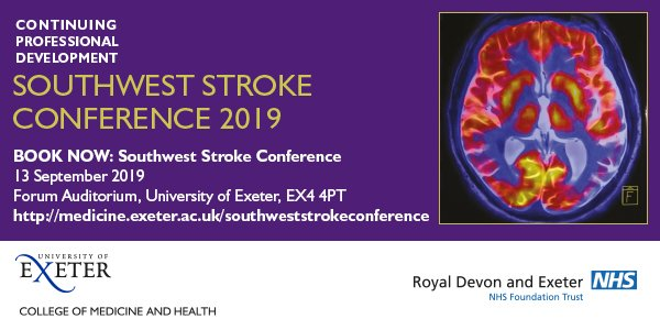 Only 4 days to go until early-bird discount expires #SWStroke2019 @UniofExeter on 13th September!  Will you join us? Open to #nurses #therapist #consultant #specialtydoctor #GP #researchers BOOK NOW https://bit.ly/2HTTtEh . See you in Sept? @ExeterMed @RDEhospitals