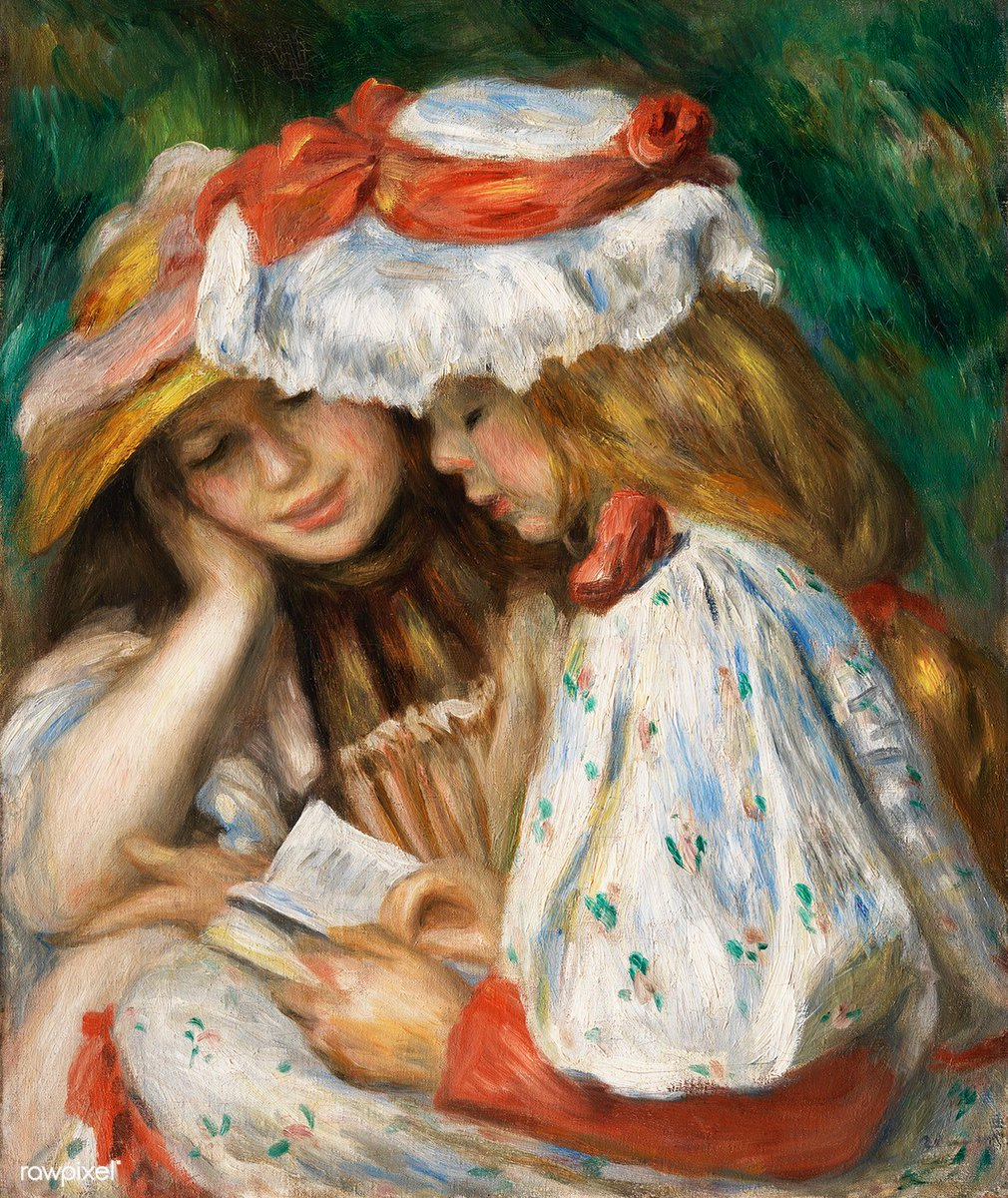 Two Girls Reading (c. 1890–1891) by Pierre-Auguste Renoir. Original from The Los Angeles County Museum of Art. Digitally enhanced by rawpixel. Download this image: http://rawpixel.com/board/894911/pierre-auguste-renoir…