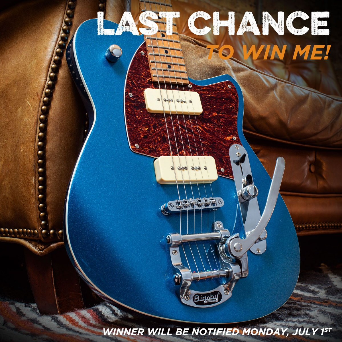 Don't miss out! Enter to win this @ReverendGuitars beaut now! Give this post a #Retweet while you can! This #CMEExclusive is headed to a loving home soon! http://bit.ly/2ZQWpYz