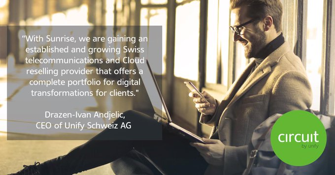 """""""With @Sunrise_De, we are gaining an established and growing Swiss telecommunications and #clo..."""
