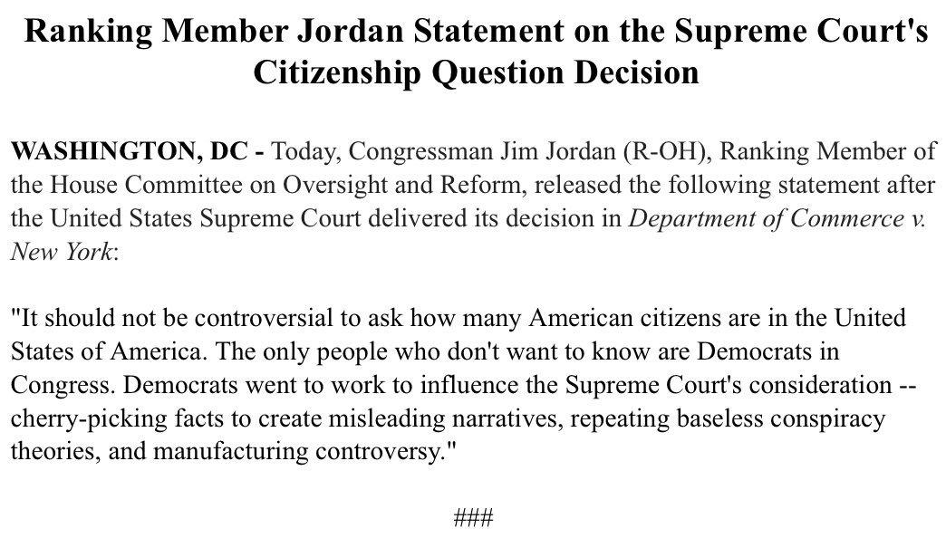 🚨#NEWS: Ranking Member @Jim_Jordan issues statement on #SCOTUS's citizenship question decision.