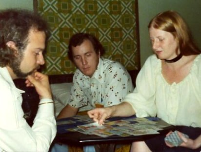 I met Parris for the first time at KublaCon in Nashville, in the spring of 1975.   Here she is in my room, giving a tarot reading to Joe W. Haldeman.