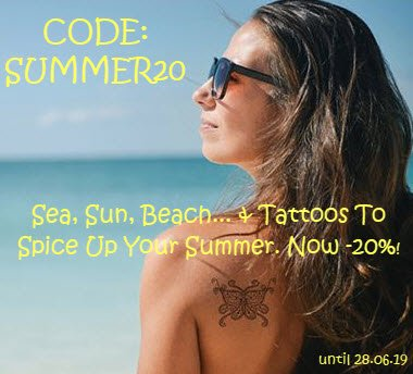 Summertime! Use the code 'summer20' and get 20% off your order! http://ow.ly/8m4z50uIPRS #tattooforaweek #tattoostickers #promo #promocode #discount #discountcode #summer #summersales #mushtave #festivalseason #trend #faketattoos #webshop