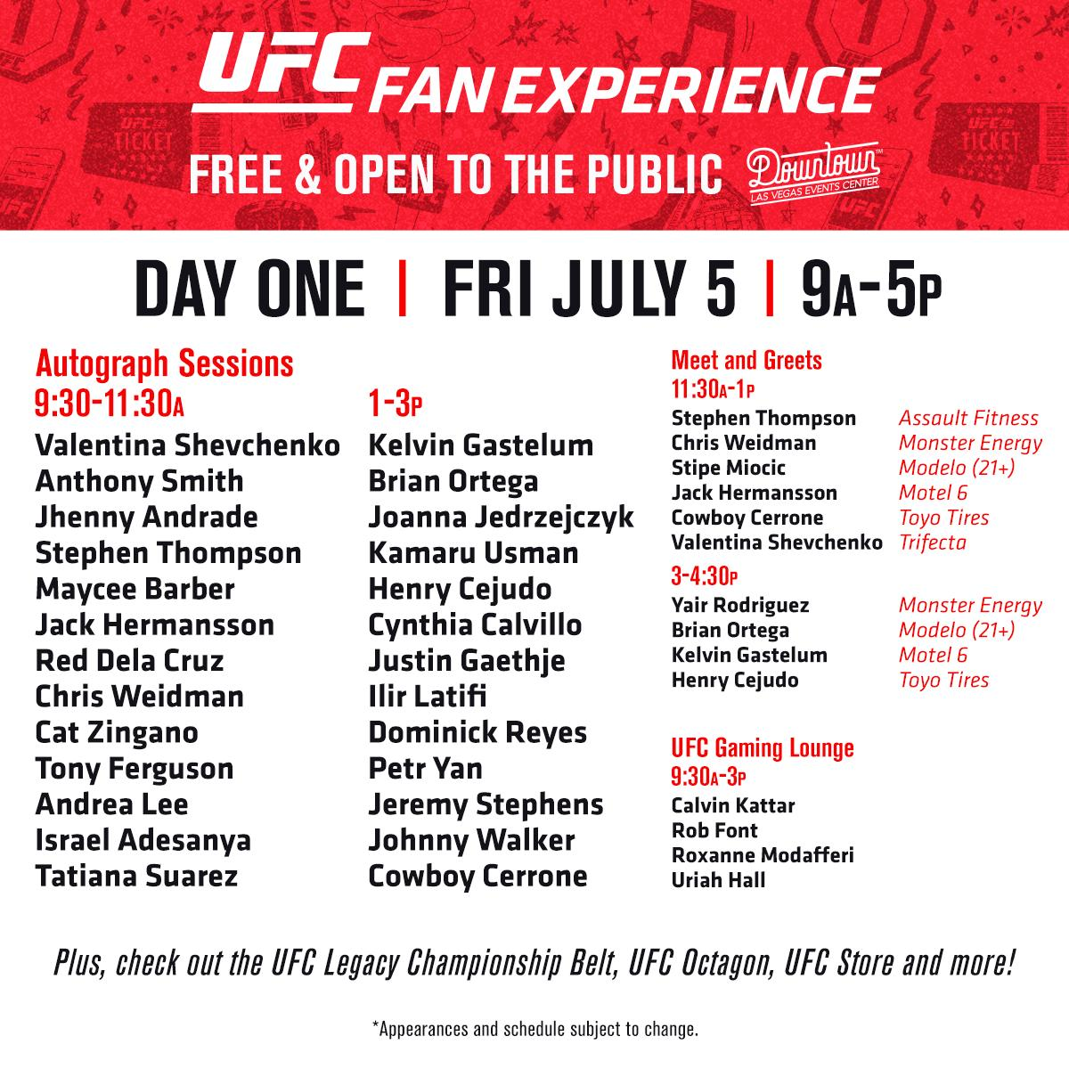 You've been asking!  Your Fan Experience lineup is here.  Download the #UFCFightWeek app, and don't miss a minute of the action ⤵️