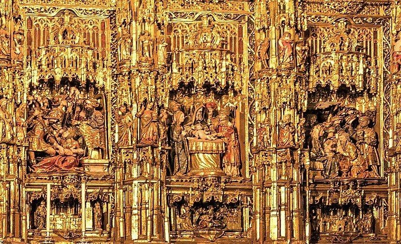 Fijaos también en el realismo del sacrificio de los inocentes, el sentido compositivo en la escena de la circuncisión y el tratamiento de las figuras de los #ReyesMagos: