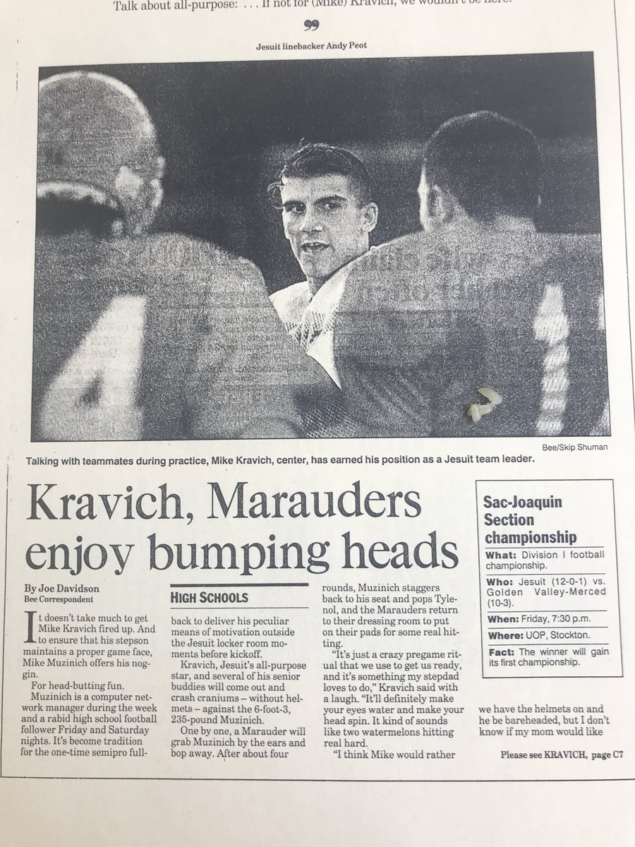 Printed proof that @MichaelKravich of @CAPITALFBALL was a beast. @sacbee_news cover story we did in 1995 on how Crash Kravich loved to bang heads for @JesuitHighSac @coachtcapital