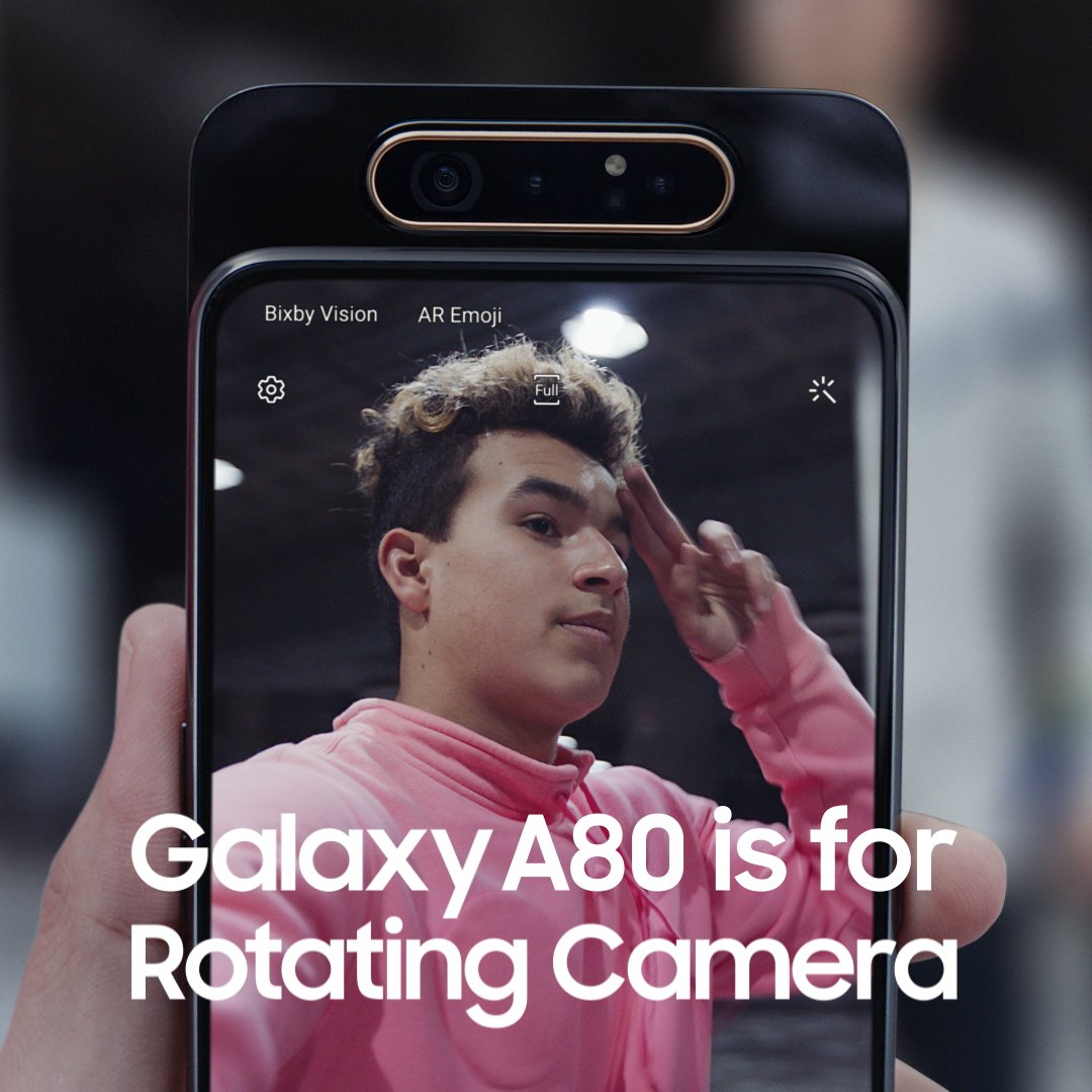 #GalaxyA80 is for Rotating Camera. Epic on both sides. Learn more: http://smsng.co/GalaxyA80