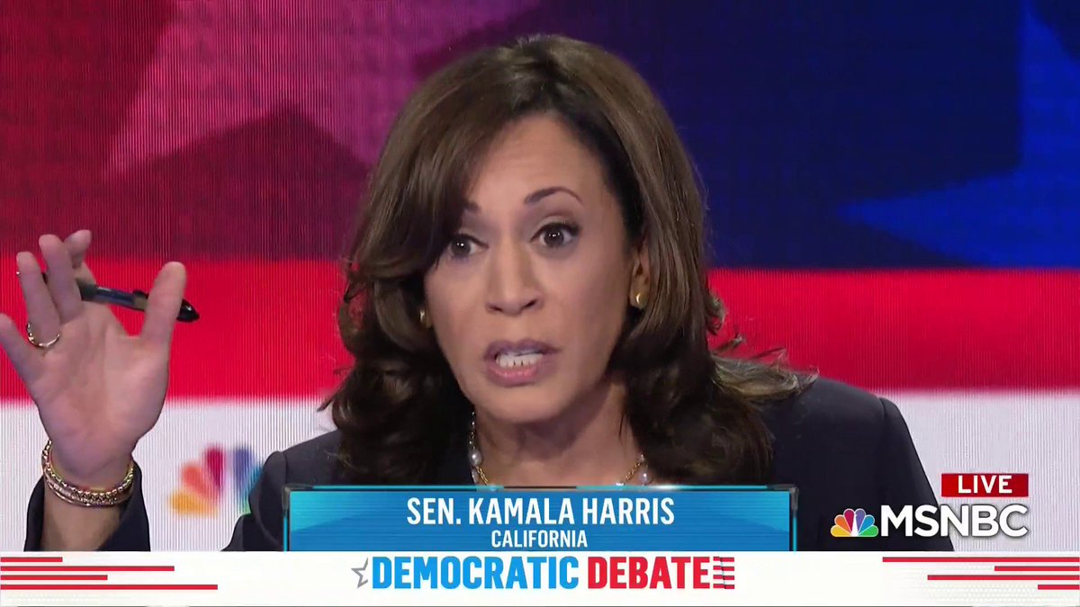 """Savannah Guthrie: Do Dems have to explain how they'll pay for free college, health care?  Kamala Harris: """"Where was that question when the Republicans and Donald Trump passed a tax bill that benefits the top 1% and the biggest corporations in this country?"""" #DemDebate"""
