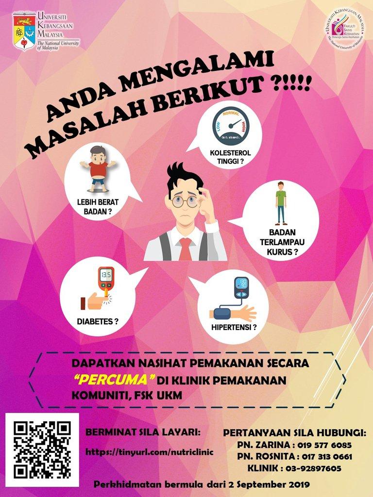 Ukm Malaysia On Twitter Semua Warga Ukm Serta Masyarakat Umum Dijemput Untuk Menyertai Sesi Saringan Kesihatan Dan Kaunseling Pemakanan Di Klinik Pemakanan Komuniti Fakulti Sains Kesihatan Ukm Maklumat Lanjut Di Https T Co Pulhoy6fjv Ukm