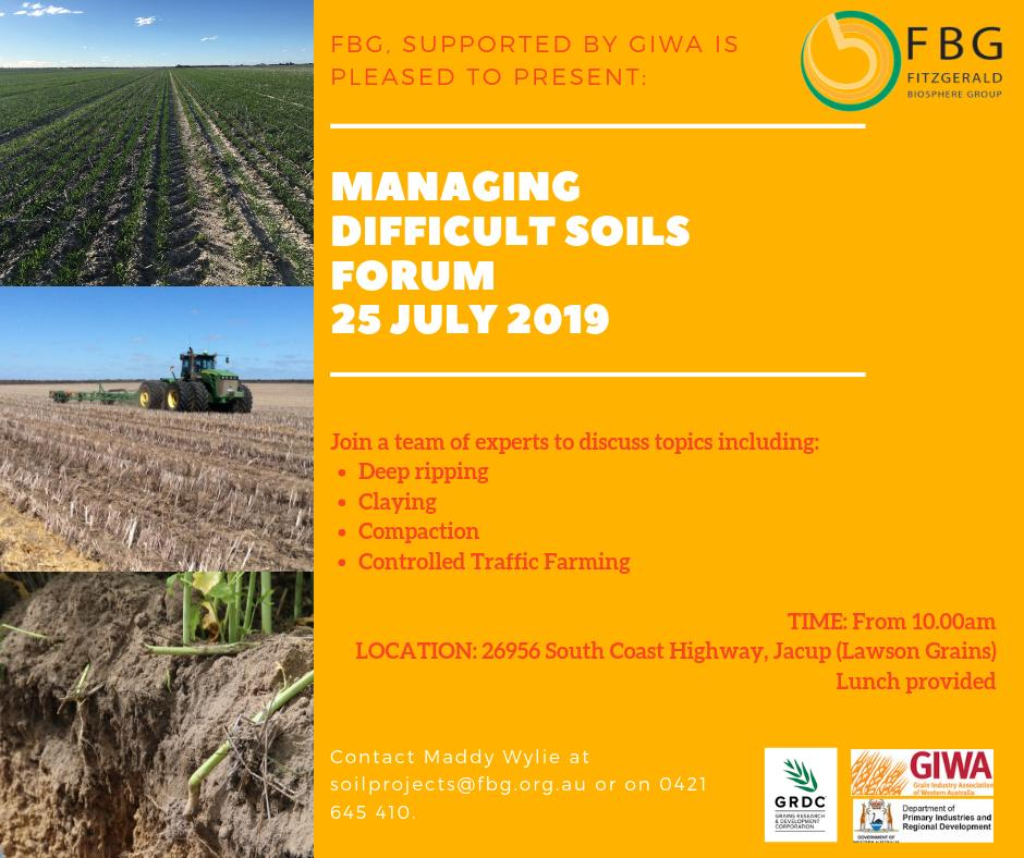 Practical Ideas for Managing Difficult Soils - GRDC and FBG invite you to attend a grower discussion with a team of visiting soil science specialists to review practical means of addressing soil constraints on your property: @theGRDC @GrainIndustryWA @Glenn_SoilAgro @kyranbrooks