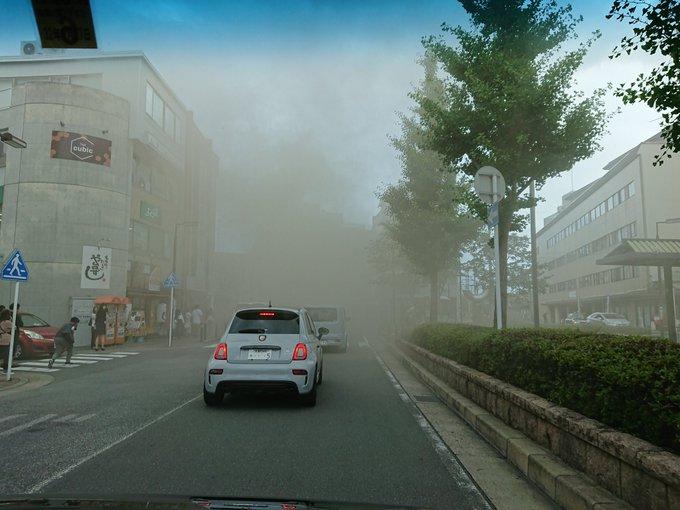 桂駅付近の火事で大量の煙が充満している現場の画像
