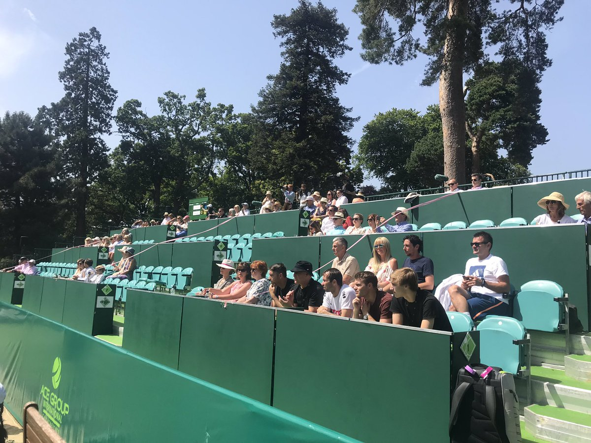 Some serious talent in @GrigorDimitrov player box..we spy @AndreAgassi and Radek Stepanek at #TheBoodles