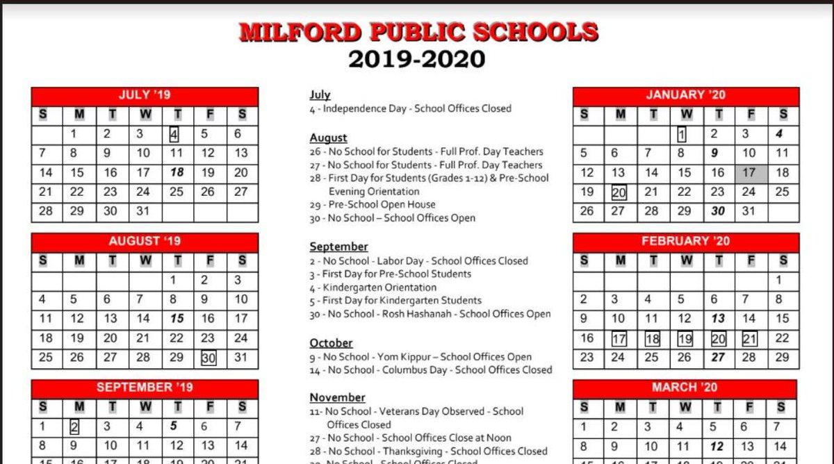 Mps School Calendar 2020 Milford Schools on Twitter: