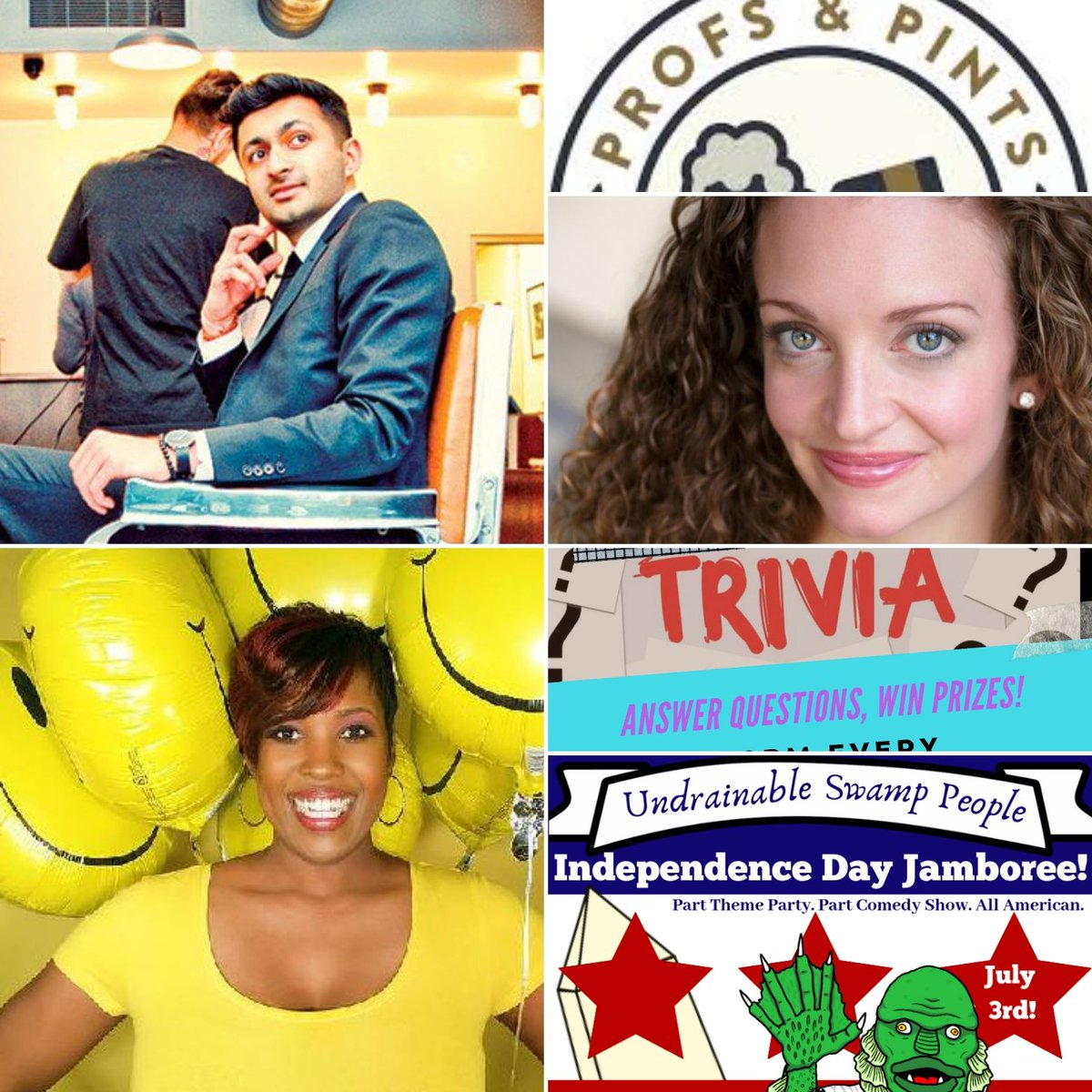 Looking ahead to next week. Comedy, lectures, and trivia, oh my!Monday- @profsandpints           Comedy ShuffleWednesday- @KatRadley          July 4th Comedy           Trivia NightFriday/Saturday- Nimesh Patel             @miacomedyCalendar at http://dccomedyloft.com