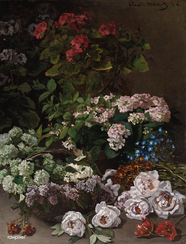 Spring Flowers (1864) by Claude Monet. Original from The Cleveland Museum of Art. Digitally enhanced by rawpixel. Download this image: http://rawpixel.com/board/547231/claude-monet…