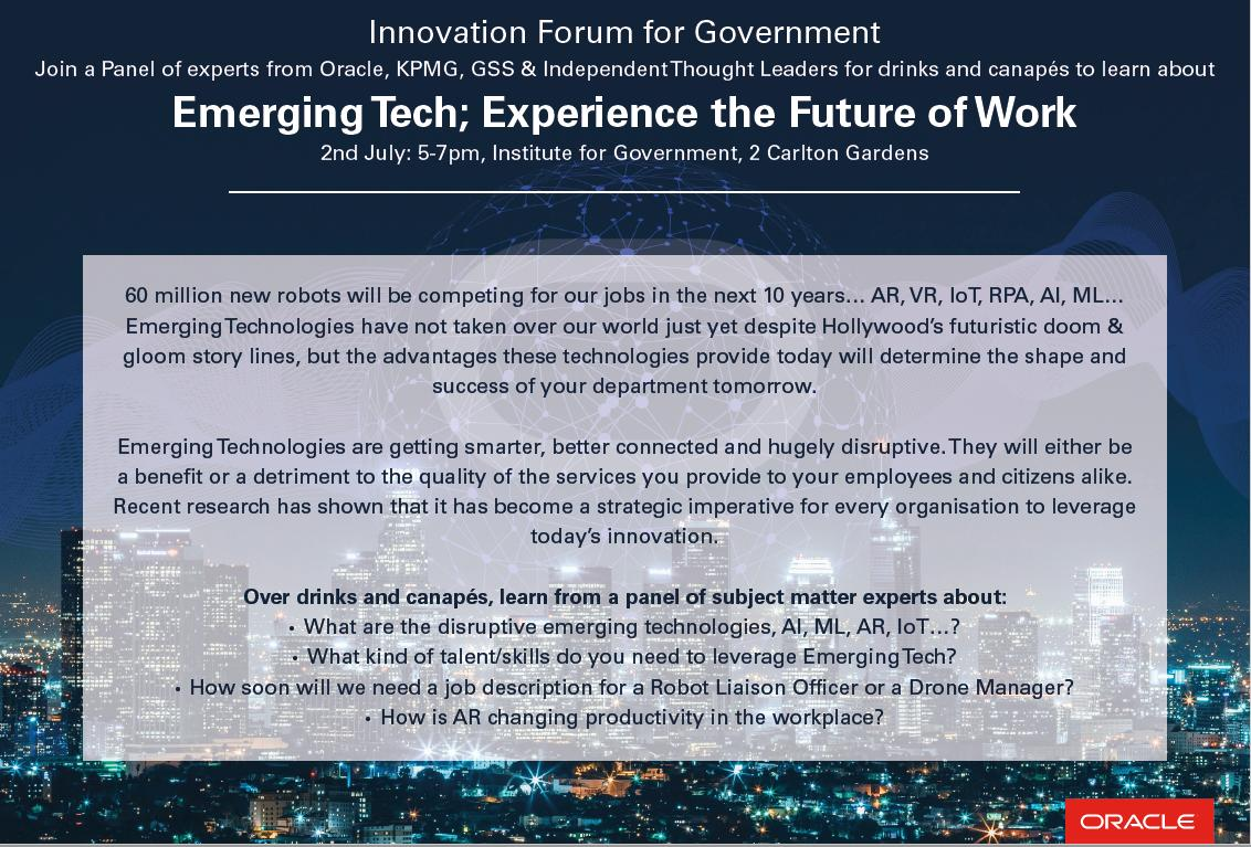 AR, IoT, BI…what do all of these mysterious acronyms have in store for your future workforce? Message me to reserve your space at the Innovation Forum for Government where we'll be discussing this with an expert panel over drinks and canapés #InnovationForumforGov