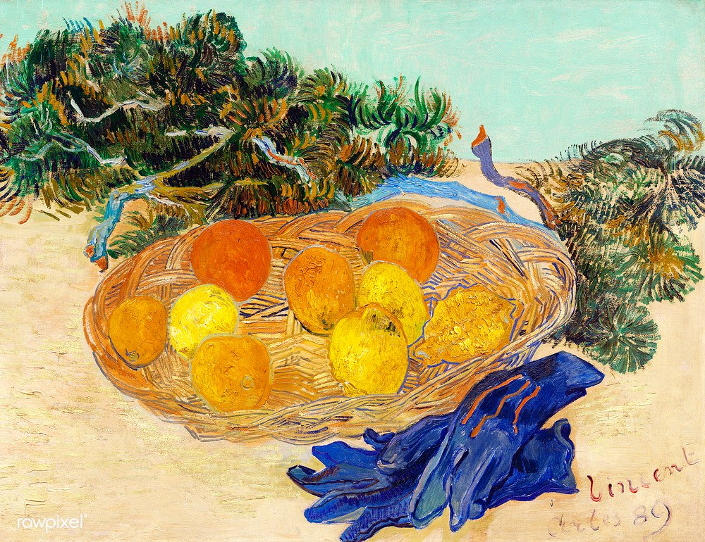 Still Life of Oranges and Lemons with Blue Gloves (1889) by Vincent Van Gogh. Original from The National Gallery of Art. Digitally enhanced by rawpixel. Download this image: http://rawpixel.com/board/537381/vincent-van-gogh…