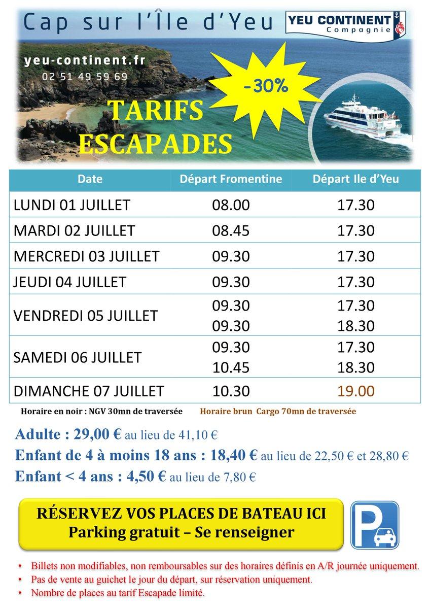 L'été est arrivé ! Profitez de nos tarifs Escapades à - 30 % de réduction    #iledyeu #yeucontinent #regionpaysdelaloire