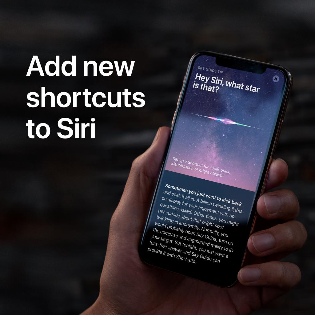 """""""Hey Siri"""" works with more apps than ever. Just look for the Add to Siri button to set up your own shortcuts.   Learn more: https://apple.co/2xmFhgM"""
