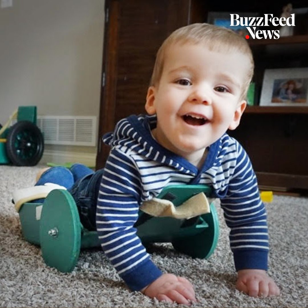 This 2-year-old is paralyzed from the chest down, but his father's invention has him cruising and crawling around 👶