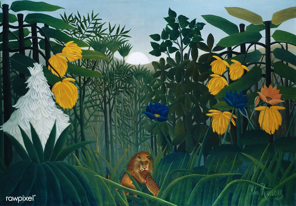 The Repast of the Lion (ca. 1907) by Henri Rousseau. Original from The MET Museum. Digitally enhanced by rawpixel. Download this image: http://rawpixel.com/board/1054552/henri-rousseau…