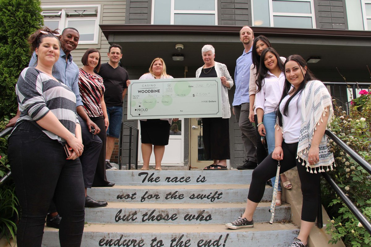 Our @CasinoWoodbine team supports Youth Without Shelter, an important organization that provides shelter and support programs for homeless young people.