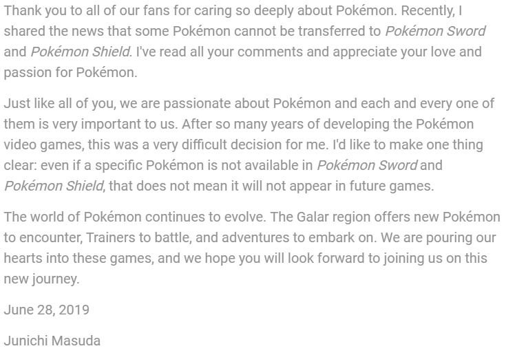 Game Freak responds to backlash over Pokémon Sword and