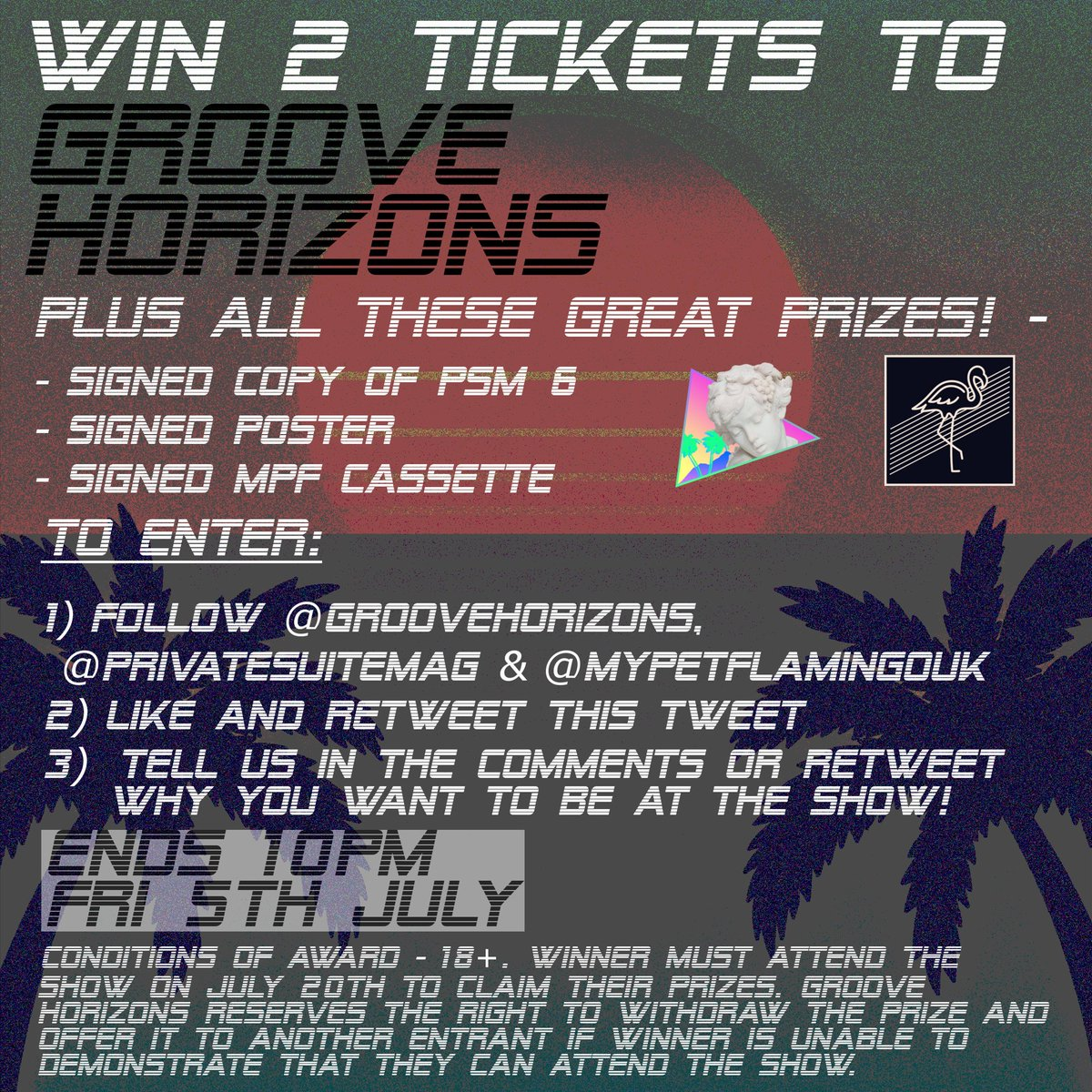 COMPETITON! / WIN 2 TICKETS TO GROOVE HORIZONS + OTHER GREAT PRIZES!  Winner announced 5th July! Cassette, poster & copy of PSM included ! Just Tweet us explaining why YOU deserve to win!  #futurefunk #groovehorizons #vaporwave #liveshow #competition #goodluck #frenchhouse <br>http://pic.twitter.com/poEwPxiDto