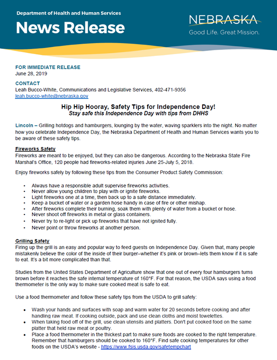 DHHSNews Release: Hip Hip Hooray, Safety Tips for