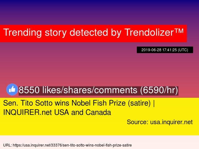 Sen. #TitoSotto wins Nobel Fish Prize (satire)   #INQUIRER.net USA and #Canada #SouthChinaSea #SouthChina... http://www.trendolizer.com/2019/06/sen-tito-sotto-wins-nobel-fish-prize-satire-inquirernet-usa-and-canada.html…
