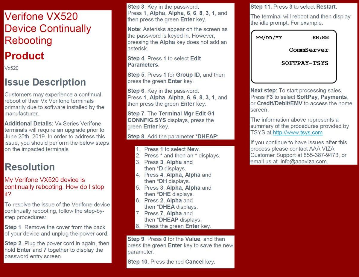 Verifone Vx520 Reboot Issue