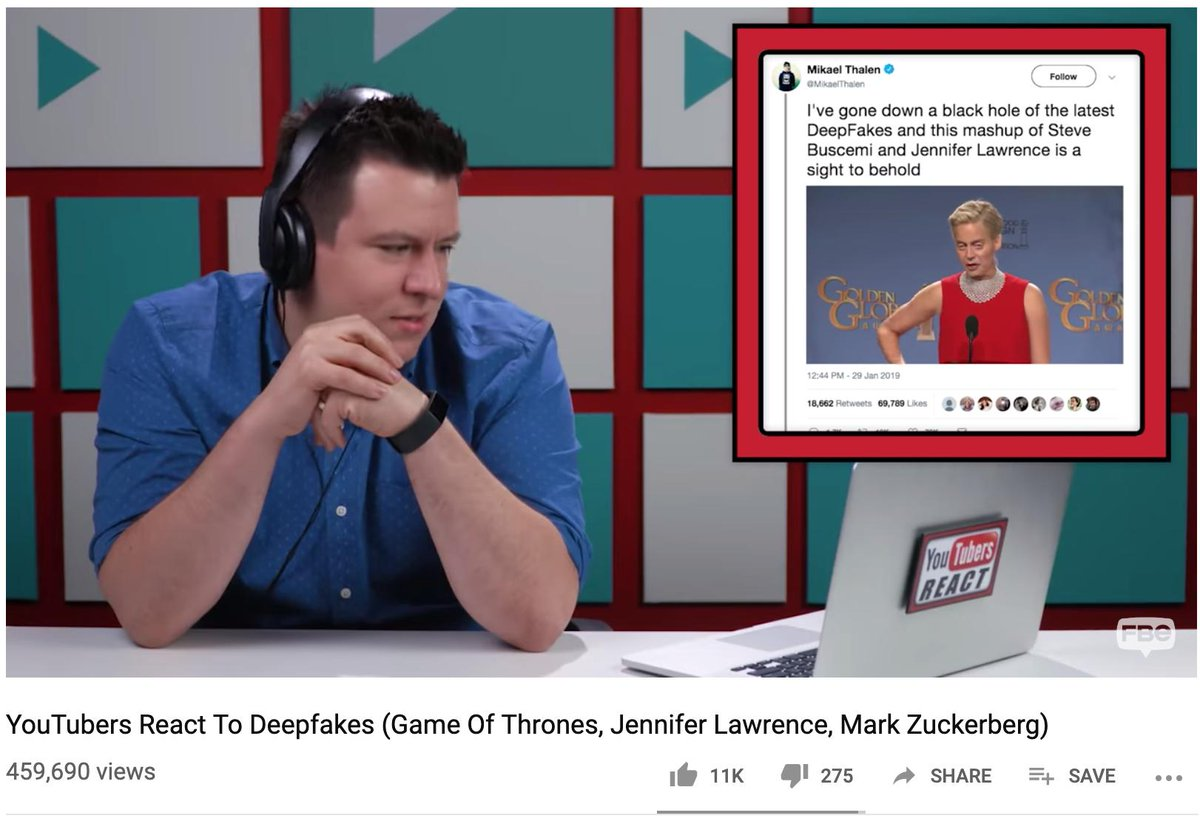 Somehow missed this deepfake reaction video from popular YouTube channel FBE. Highlights some of the more famous videos from @TheFakening and @Villain_Guy among others https://youtu.be/MFGRhhQGgeE