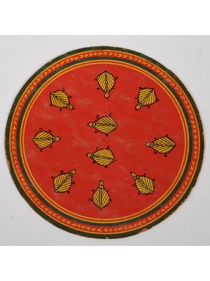 Circular ''ganjifa'' from 19th century, Maharashtra, painted to represent ten insects in the center on a red ground enclosed within three circles ! #ganjifa #playingcards