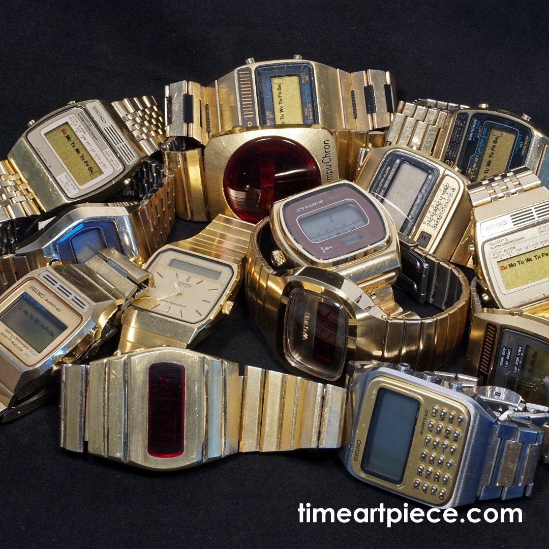 Gold colored Seiko Bulova CompuChron