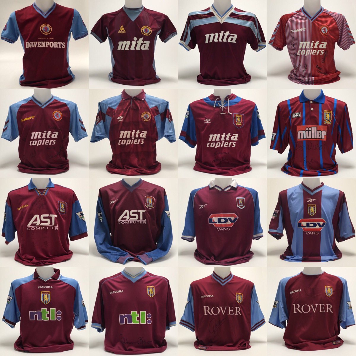 Aston Villa Shirts On Twitter And All The Home Shirt Sponsors From The First Season We Wore A Sponsor In 1982 83 Up Until 2018 19 Avfc