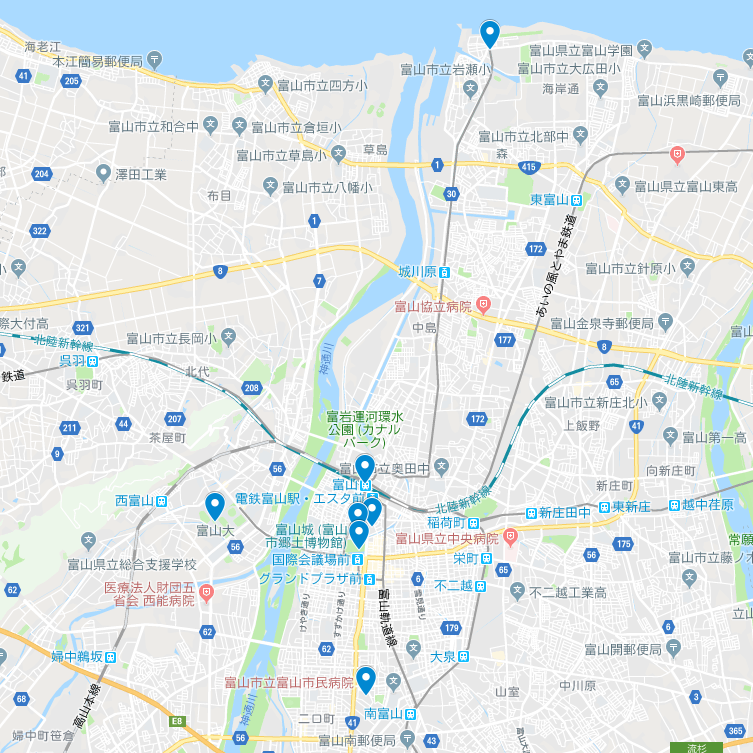 富山市内 googleMap(岩瀬浜~富山駅~セントラム内側~富山大学~富山市立病院)