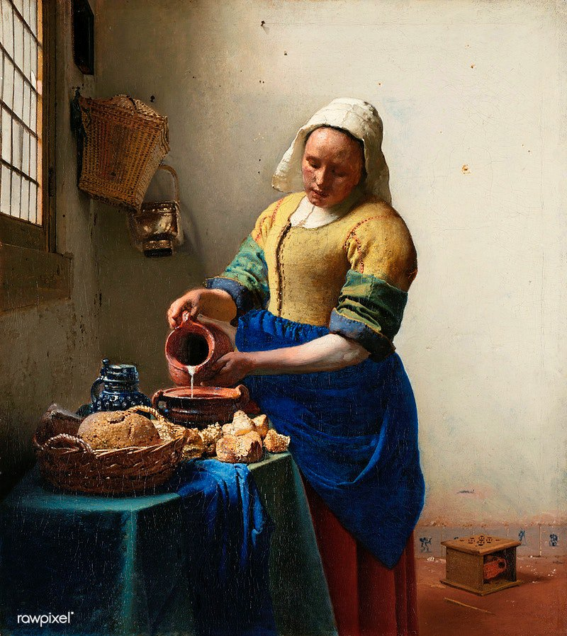 The Milkmaid (ca. 1660) by Johannes Vermeer. Original from The Rijksmuseum. Digitally enhanced by rawpixel. Download this image: https://t.co/7VLWgHWiy9 https://t.co/0rzSJ9C7XY