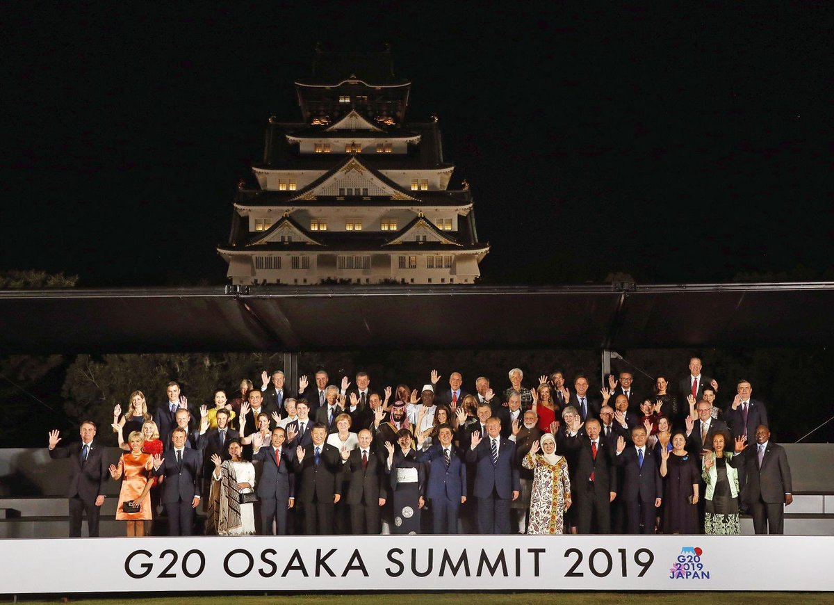 At the #G20 Summit, President @RTErdogan called on other leaders to take more responsibility, emphasizing the importance of open & fair trade, employment promotion, multilateralism in international relations, fight against irregular migration & terrorism. #G20OsakaSummit2019