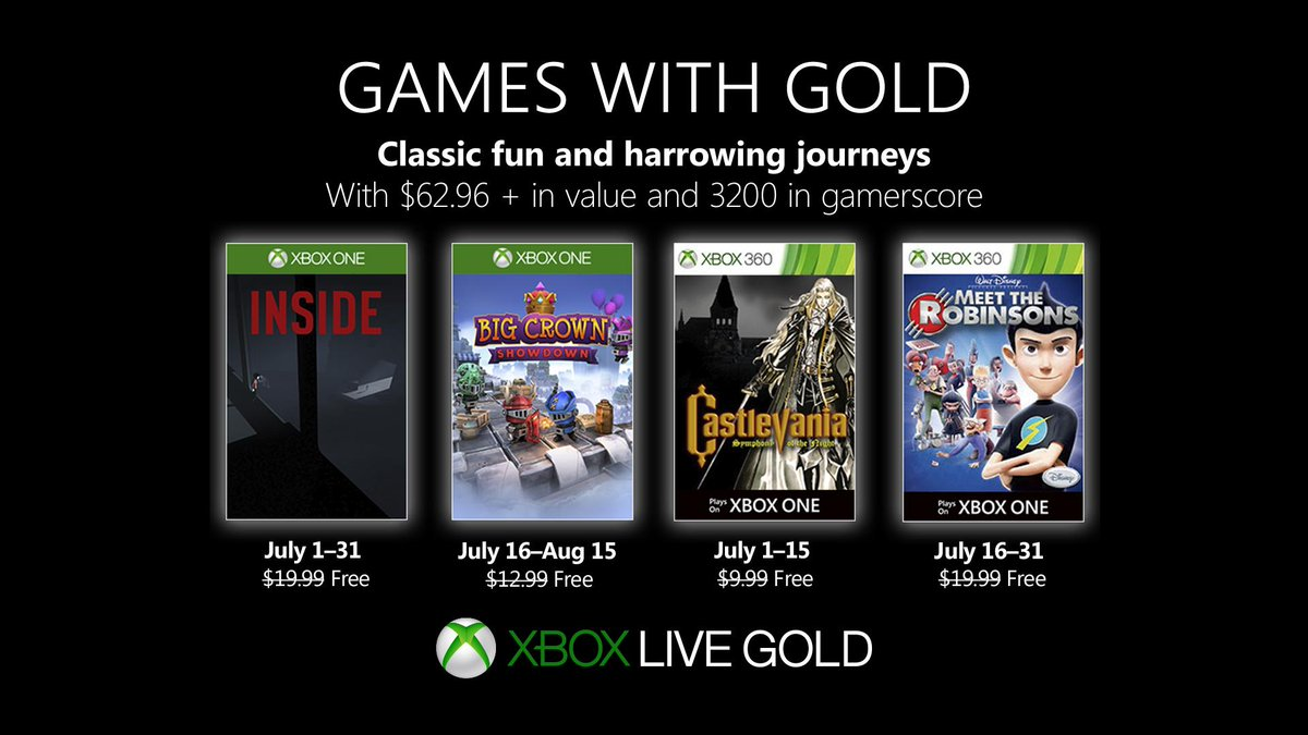 Xbox Live Games with Gold July 2019