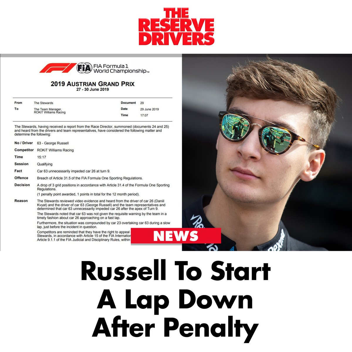 Russell to start the #AustrianGP 🇦🇹 a lap behind.   #F1 #Formula1 #SkyF1 #GeorgeRussell #F1Qualifying